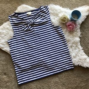 Kate Spade Navy and White Bow Tank Top
